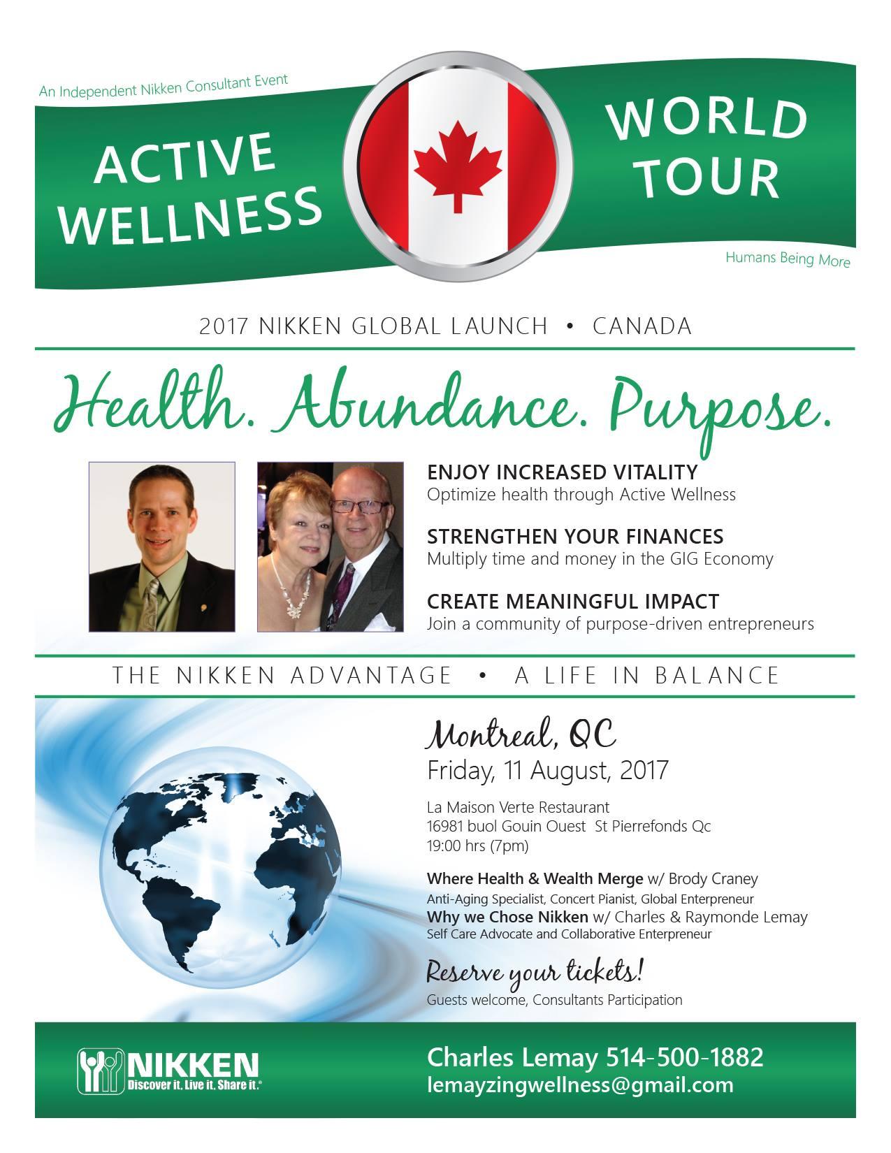 Montreal, QC. - Active Wellness Tour w/ Brody Craney & Charles & Raymonde Lemay @ La Maison Verte Restaurant | Montréal | Québec | Canada