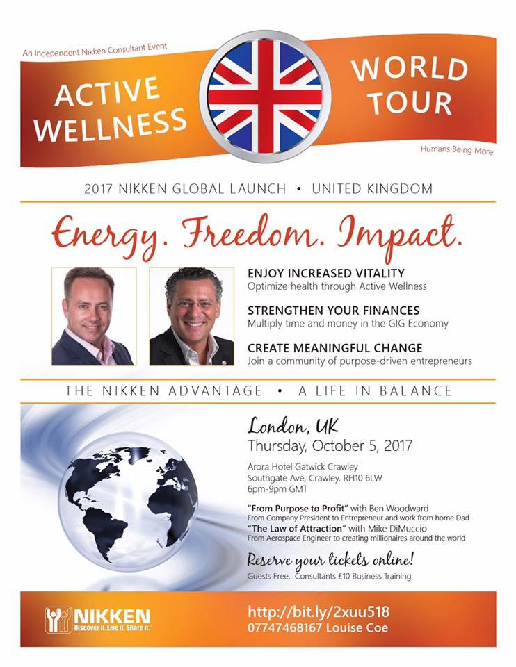 London, UK - Active Wellnesss Tour w/ Ben Woodward & Mike DiMuccio @ Arora Hotel Gatwick Crawley   England   United Kingdom
