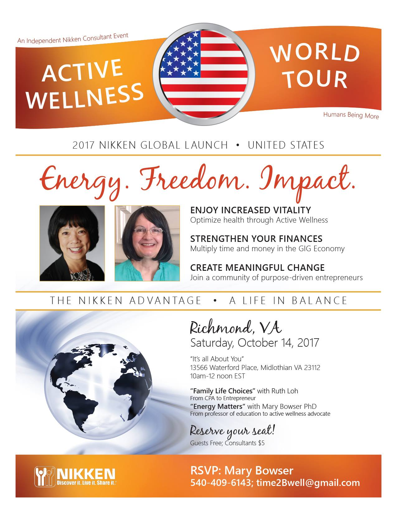 """Richmond, VA - Active Wellness Tour w/  Ruth Loh & Mary Bowser PhD @ """"It's all About You""""   Midlothian   Virginia   United States"""