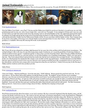 Animal Testimonials